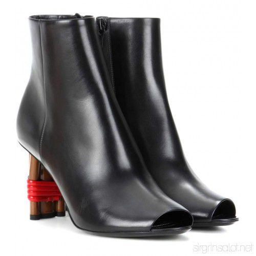 Balenciaga - Leather Peep Toe Ankle Boots