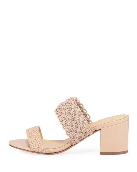 Alexandre Birman - Lanny Crochet Leather Slide Sandals, Beige