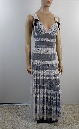 Agilita - Vestido longo tule bordado