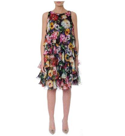Dolce Gabbana - Floral Print Tiered Flared Dress