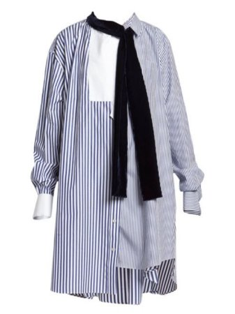 SACAI - Pinstripe Mixed Shirting Dress