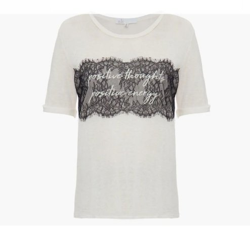 Talienk - T-shirt Linho renda - Off white