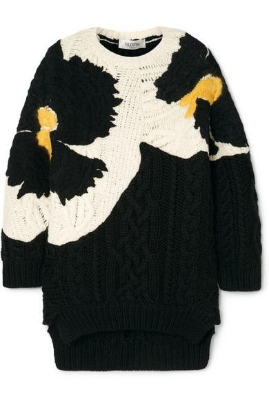 Valentino -  Oversized embroidered cable-knit wool sweater
