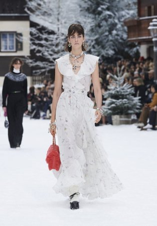 Chanel - Printed Silk Muslin, White, Blue, Gray & Red-winter 2019/20