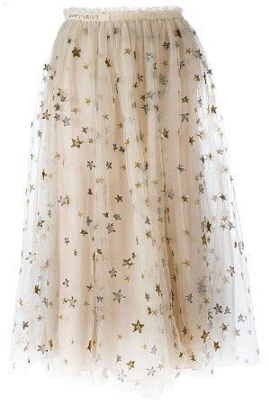 Valentino - Stars Embroidered tulle midi skirt