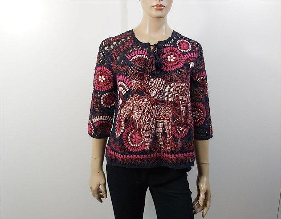 Christian Dior - Blusa algodão bordada