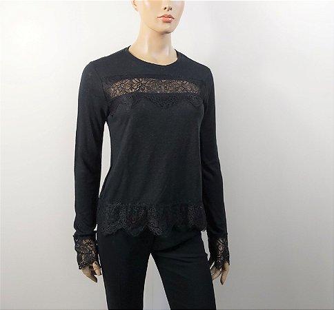 Talie nk - Camiseta detalhe renda - cinza