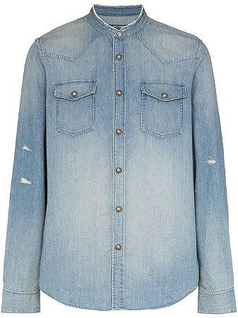 Balmain - Camisa jeans decote arredondado (nova coleção)