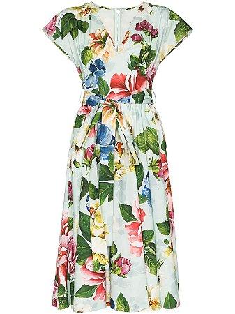 Dolce Gabbana -  Vestido azul com cinto e estampa floral