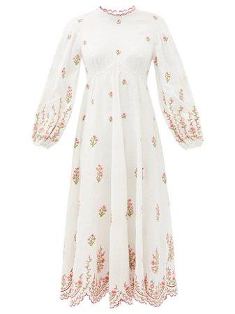 Zimmermann - Shirred floral-print ramie midi dress