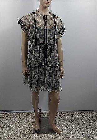 Christian Dior - Vestido tule xadrez
