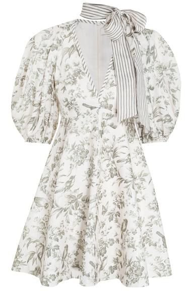 Zimmermann - Vestido mini floral linho