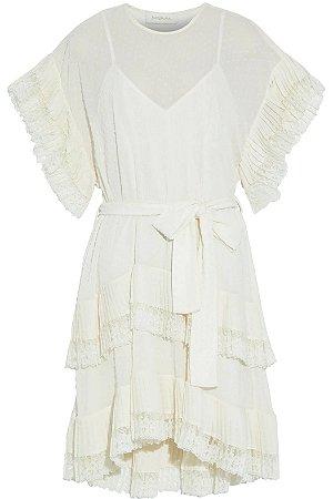 Zimmermann - Mini vestido de georgette com detalhe em renda e pontos suíços