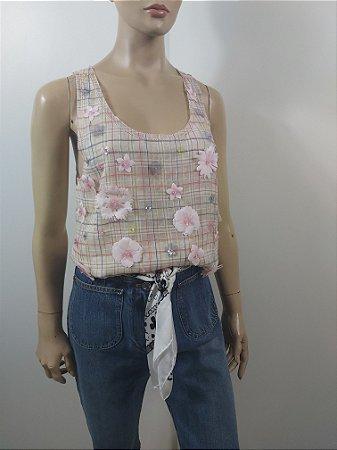 Chanel - Blusa regata com aplicações em seda
