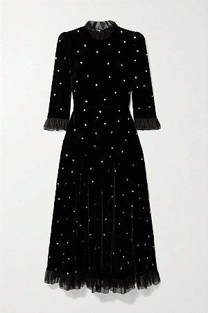 Philosophy - Di Lorenzo Serafini - Vestido midi de veludo com acabamento em tule e cristais