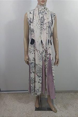 Valentino - Vestido longo em seda e veludo