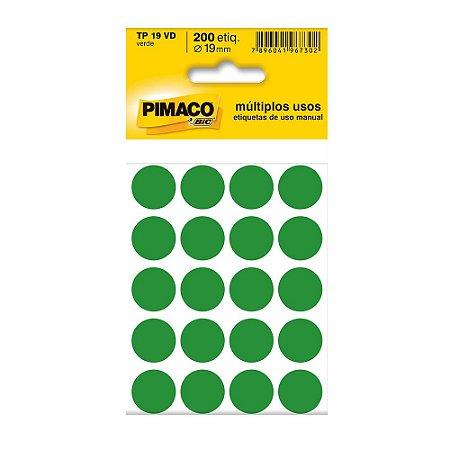 ETIQUETA TP-19 C/200 VERDE PIMACO