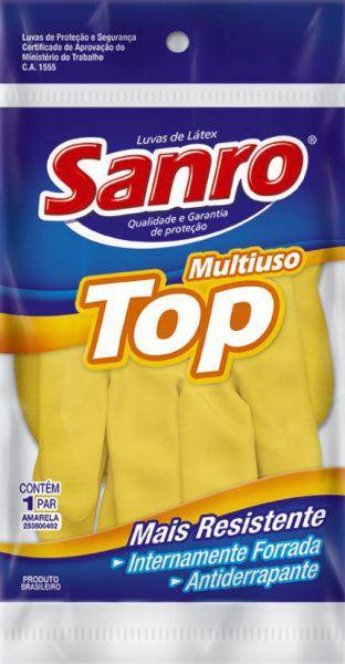 LUVA DE BORRACHA SANRO TOP AMARELA G