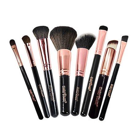 Kit com 8 Pincéis de maquiagem Profissionais Linha Rosê - Macrilan
