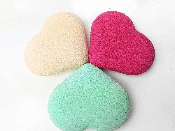 Esponja de maquiagem Coração com 3 unidades - Puff