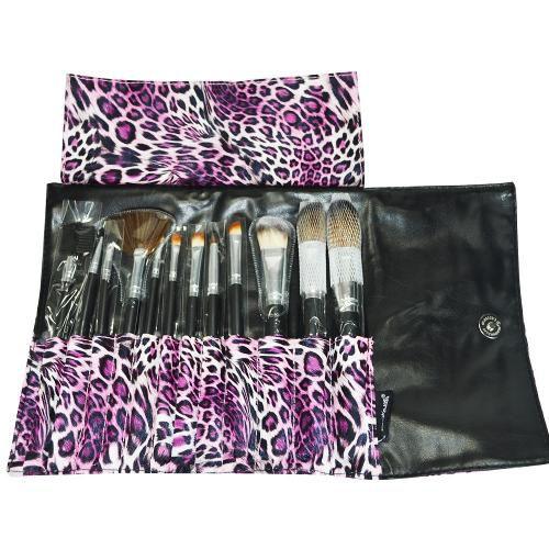Kit com 12 Pincéis de Maquiagem Onça Rosa Macrilan