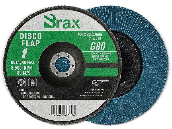 DISCO FLAP 7 x 7/8 GRAO 80 BRAX - 10 PEÇAS