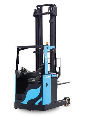 Empilhadeira Elétrica Retrátil - Modelo PR2090i - Capacidade de Carga: 2.000kg - Elevação Máxima: 9.000mm - Largura Externa do Garfo: Ajustável até 650mm