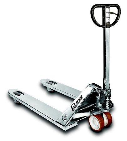 Paleteira manual com chassi de inox 2.200Kg com roda tandem(dupla) em poliuretano