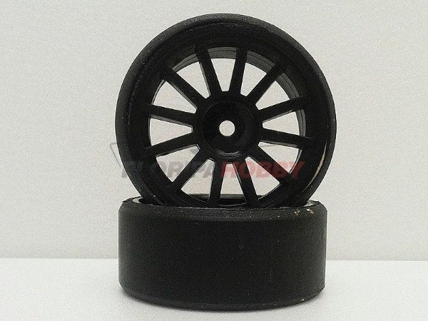 Par de Pneu e Roda Stock Drift - Cor Preta - 12mm