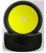PAR de Roda e Pneu OffRoad para Buggy 1/8 Amarelo MK 180118