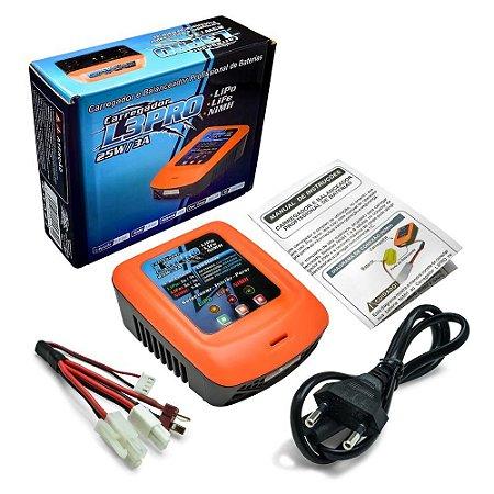 Carregador de Bateria L3PRO 3A 25W Lipo NiMh Life