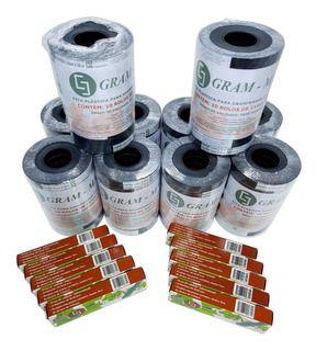 100 Rolos Fitas Plásticas +10 Cx Grampos 6/4 P/alceador