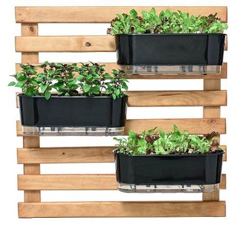 Kit Horta Horizontal 80cm x 80cm com 3 Jardineiras Pretas