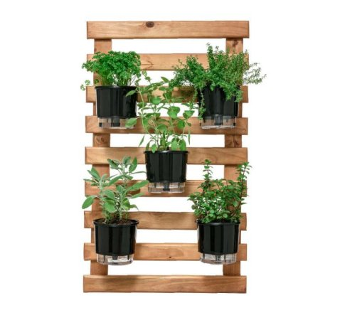 Horta Vertical Caramelo 60cm x 100cm, 5 Vasos e Suporte Preto  N03