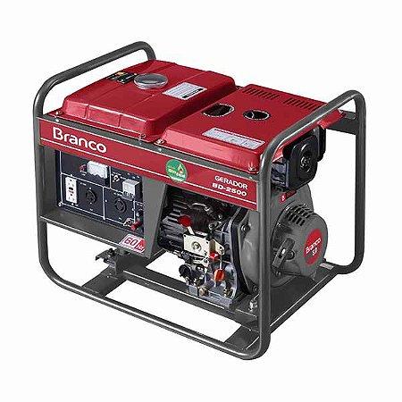 Gerador de energia à diesel 2,2 kva monofásico partida manual - BD-2500