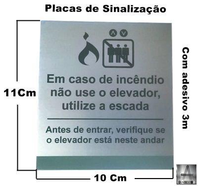 Placa em aluminio sinalização em caso de incendio nao use o elevador,utilize escada - pronta entrega
