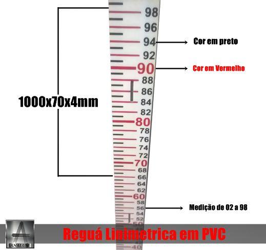Reguas Linimetricas Fluviométricas em PVC 1000x70x4mm pronta entrega