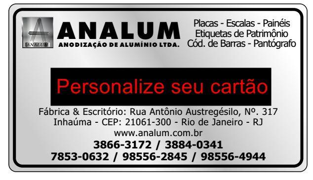 Cartão de Visita Em Aluminio Personalizado Analum