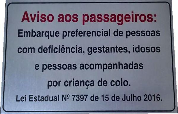 """Placa Aluminio Lei 7397 SP - """"Aviso aos passageiros""""Pronta entrega"""