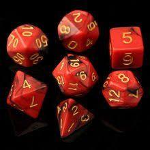 Kit de 7 Dados RPG- Vermelho mesclado