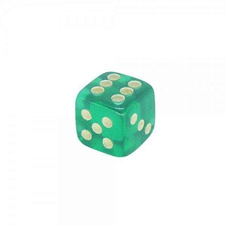 Dado 6 Lados Transparente- Verde 14x14x14 mm