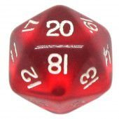 Dado 20 Lados RPG- Vermelho Transparente 22x22 mm