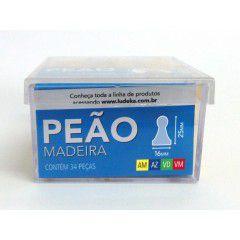 Peão Madeira 32 Peças (Amarelo, Azul, Verde e Vermelho)