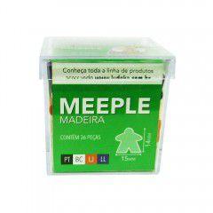 Meeple Madeira 36 Peças (Preto, Branco, Laranja e Lilás)