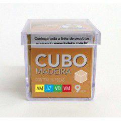 Cubo Madeira 36 Peças (Amarelo, Azul, Verde e Vermelho)