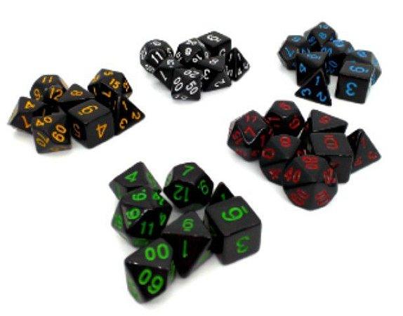 Conjunto com 7 Dados para RPG (importado)