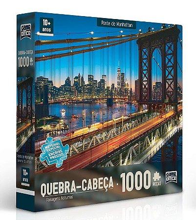 Quebra-Cabeça 1000 peças - Paisagens Noturnas - Ponte de Manhattan
