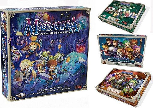 Combo Masmorra Dungeons of Arcadia + Adventurers Set + Crossover Kit + Monster Dice Set + Sleeves Grátis