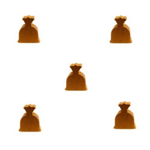 Bolsinha de Dinheiro  (Peça em Madeira) - Kit com 5 Unidades - Dourado