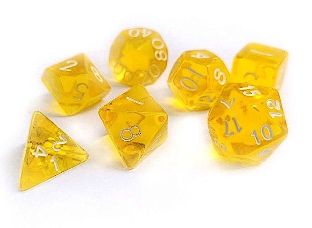 Dados para RPG Translucido - Amarelo - Conjunto com 7 peças